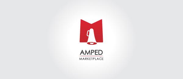 letter m logo design amped marketplace