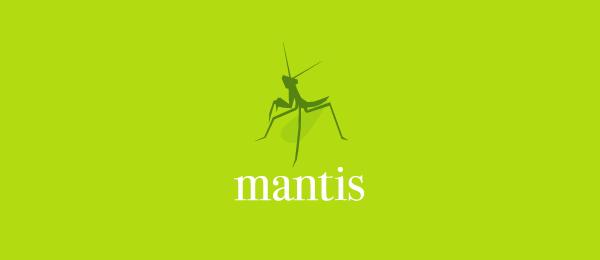 letter m logo design mantis