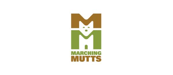 letter m logo design marching mutts