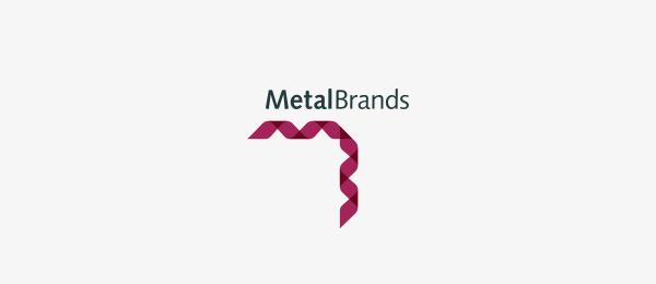 letter m logo design metal brands
