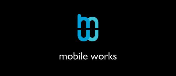 letter m logo design mobile works