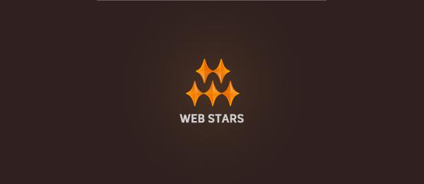 letter w logo design web stars