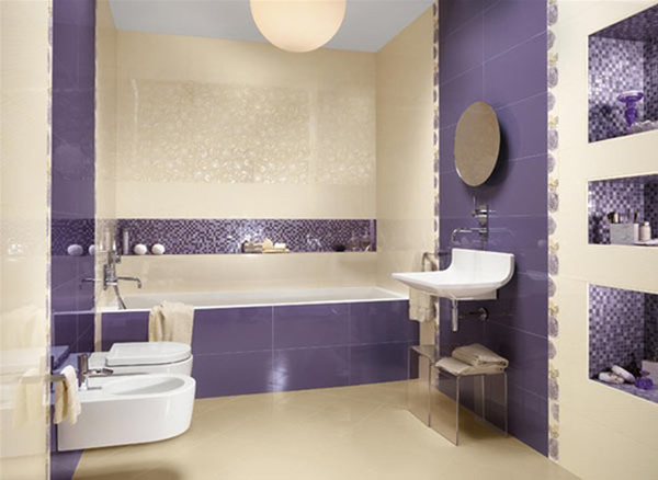Purple Small Bathroom Design Photo