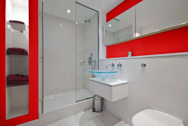 Red And White Small Bathroom Design Layout