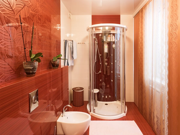 Red Small Bathroom Interior Design