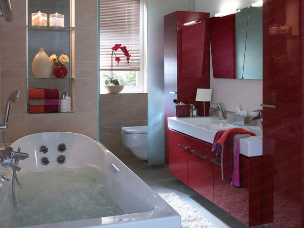 red tiny bathroom design 2596