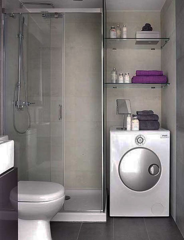 small bathroom design picture with washing machine. beautiful ideas. Home Design Ideas