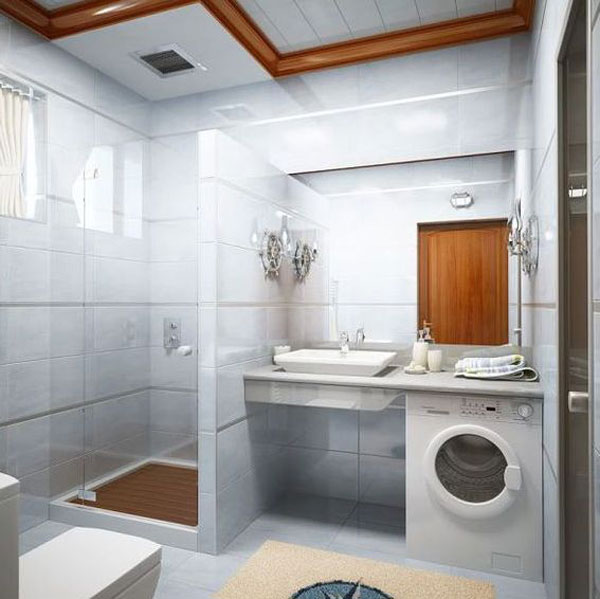 small bathroom design with washer 2587