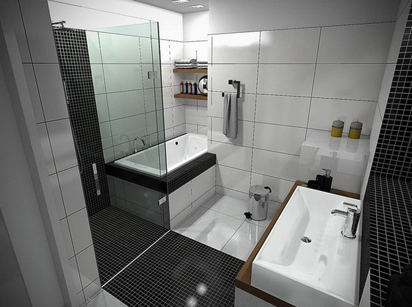 Small Black And White Bathroom