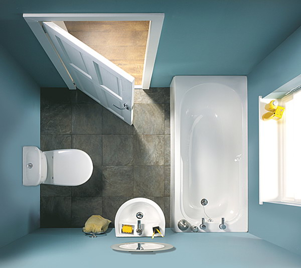 small blue bathroom top view - Bathroom Design Ideas For Small Spaces