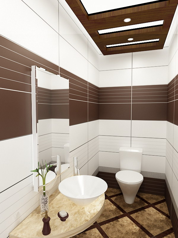 Small Brown And White Bathroom