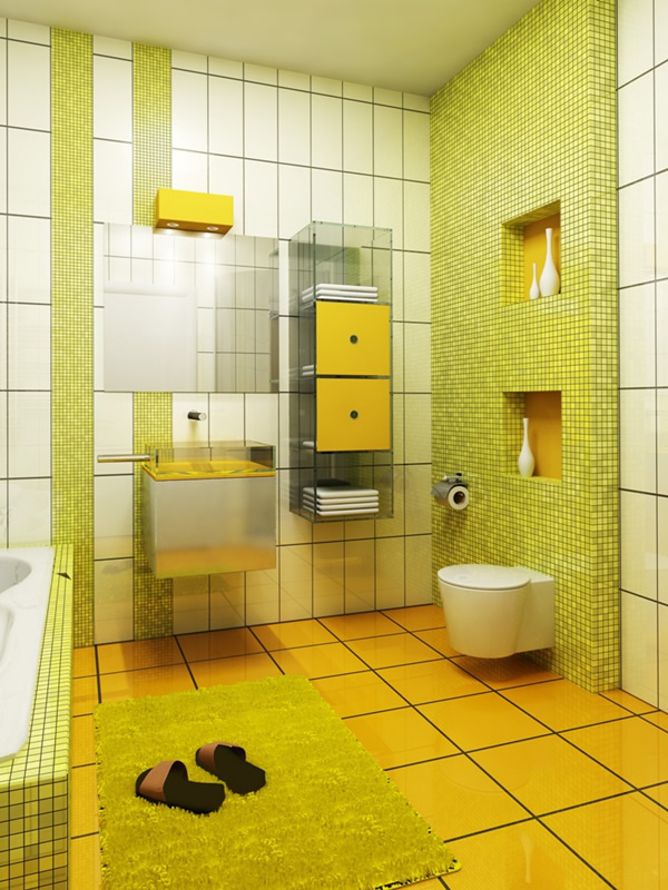 small yellow and white bathroom 2518