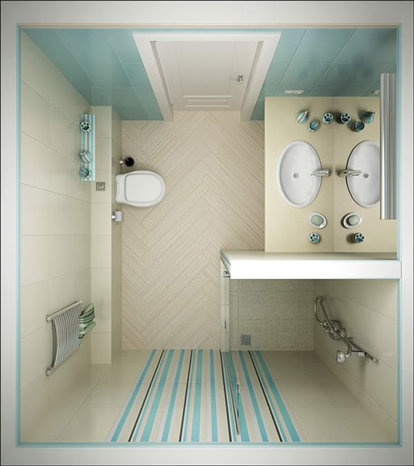 tiny bathroom design top view - Small Bathroom Design Ideas