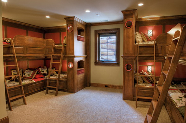 traditional boys bunkroom design by gabriel builders