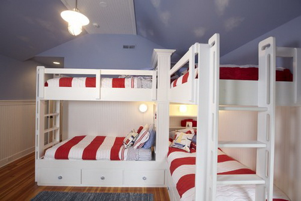 traditional boys bunkroom design by stonebreaker builders