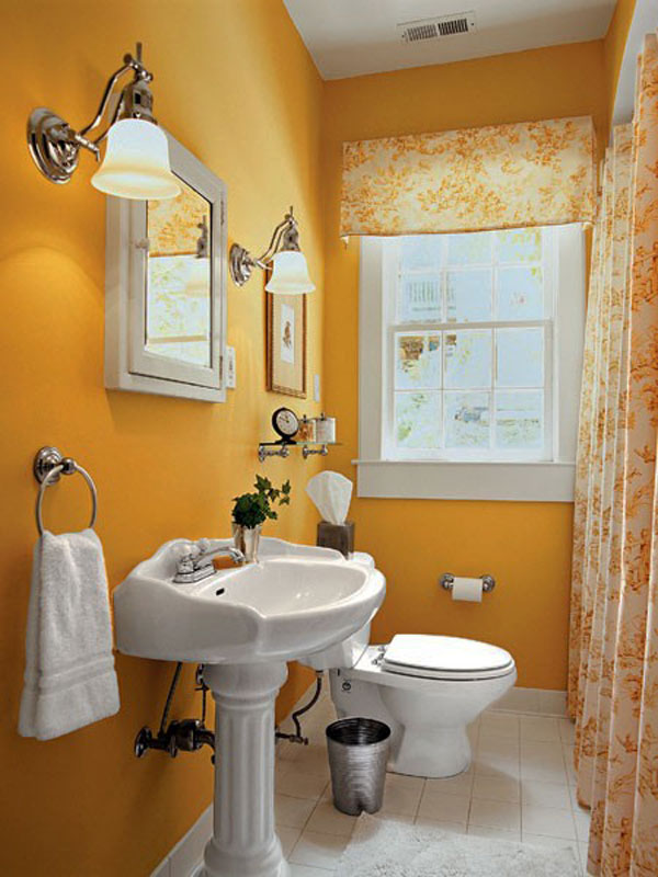 compact yellow bathroom interior design