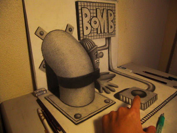 3d drawing bomb http://hative.com/50-amazing-pencil-drawings/
