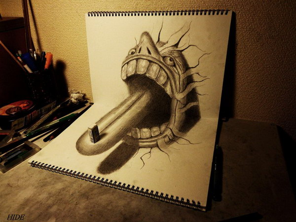 3d drawing tongue on book