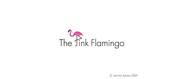 animal logo pink flamingo