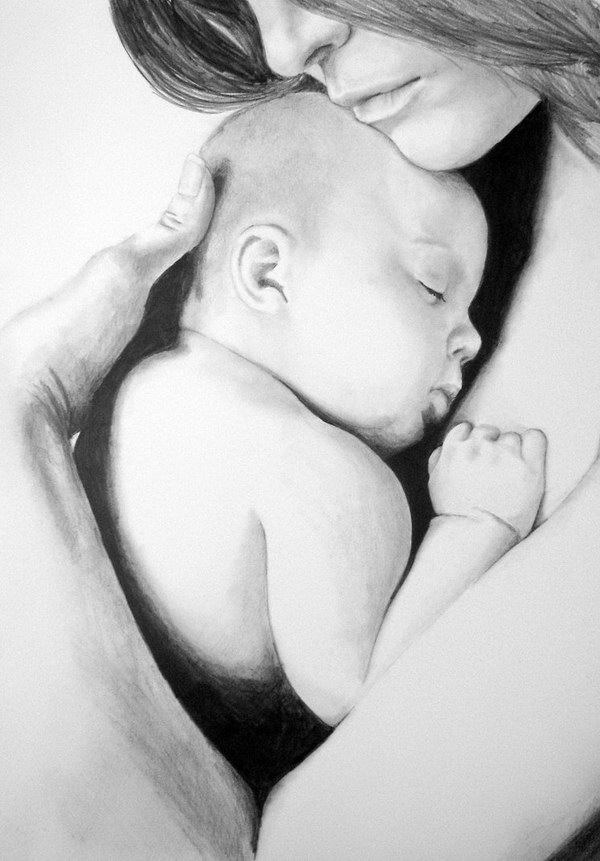 Baby in moms arms pencil drawing