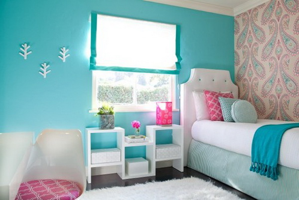 Teenage Girl Bedroom Blue Flower Themes Pictures To Pin On Pinterest