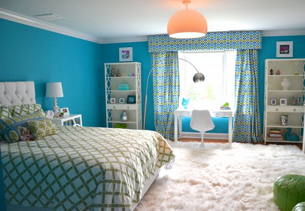 50 cool teenage girl bedroom ideas of design hative - Deco chambre turquoise gris ...