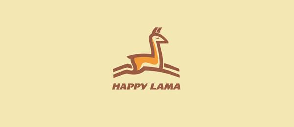 happy lama animal logo