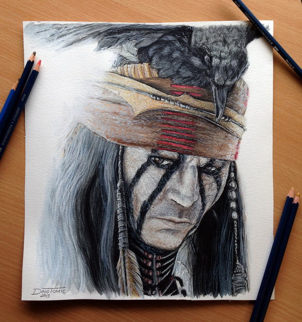 johnny depp color pencil drawing