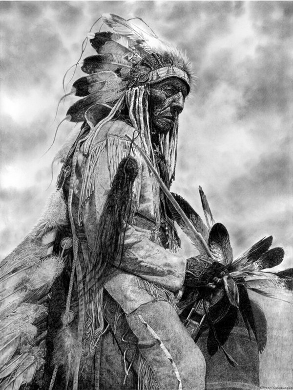 native american chief pencil drawing