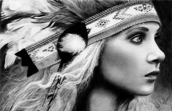 native american girl pencil drawing