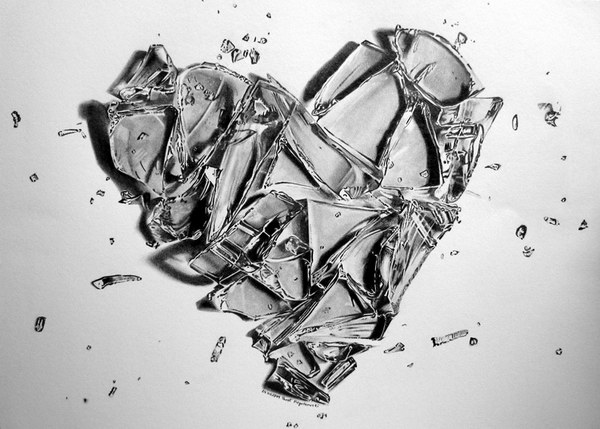 pencil drawing broken heart