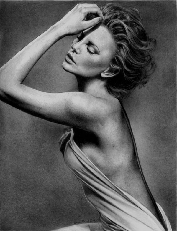 pencil drawing charlize theron