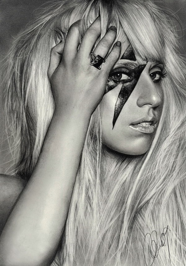 pencil drawing lady gaga