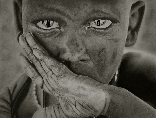 pencil drawing maasai boy