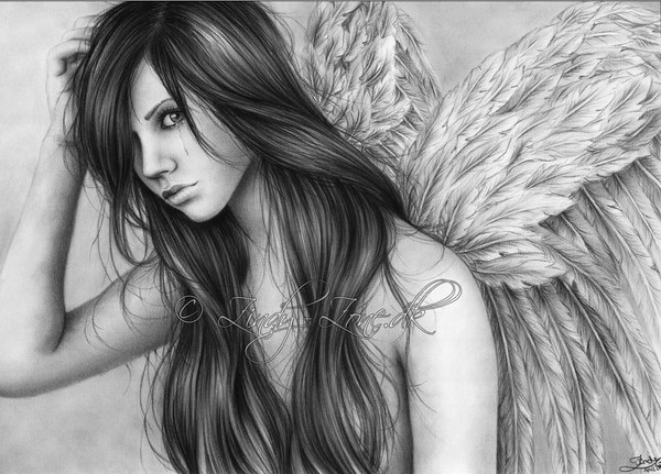 Pencil drawings of angel tears