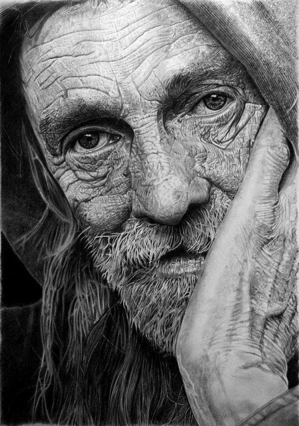 pencil drawings of old people