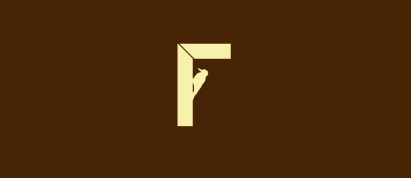bird logo f typo