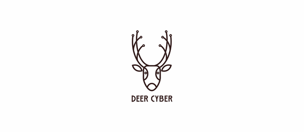 black and white logo deer cyber
