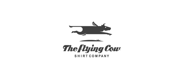 black and white logo flying cow