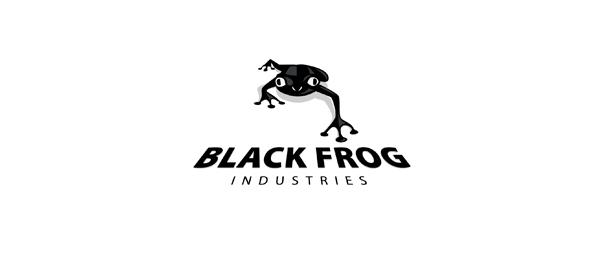 black and white logo frog