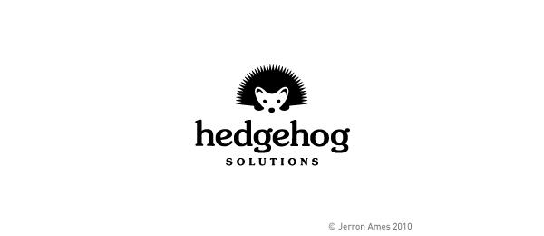 black and white logo hedgehog