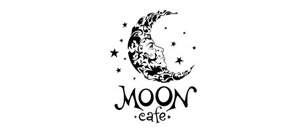 black and white logo moon