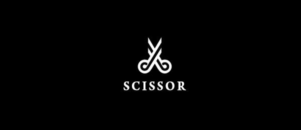 black and white logo scissor