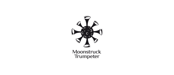black and white logo trumpet