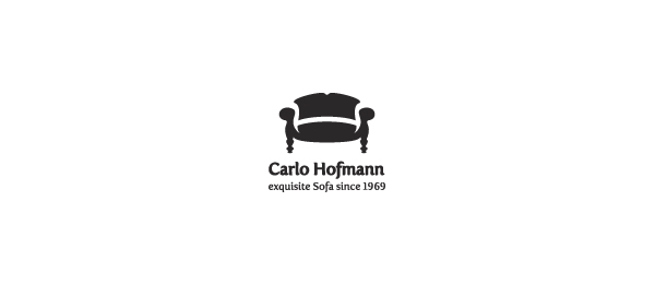 black white logo chair