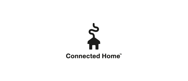 black white logo connect home