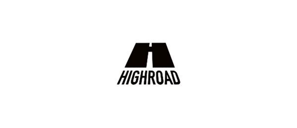 black white logo h road