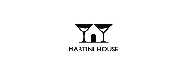 black white logo martini house
