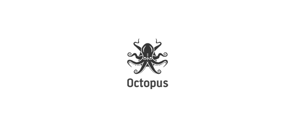 black white logo octopus