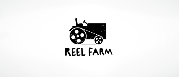 black white logo reel farm